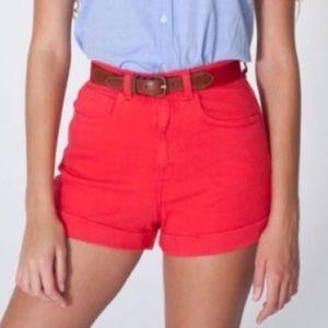American apparel hi waist denim shorts